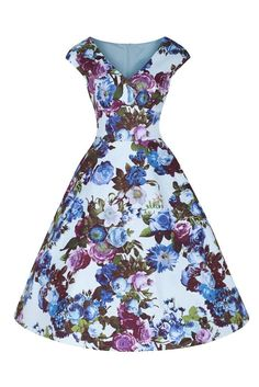 Aqua Blue Floral Sleeveless Swing Dress
