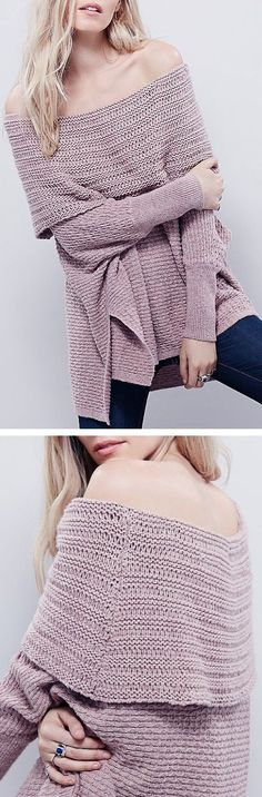 Lavender Cozy Chunky Knit Off The Shoulder Sweater ❤︎