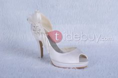 White Platform Satin Stiletto Heels Peep Toe Prom/Evening Shoes : Tidebuy.com