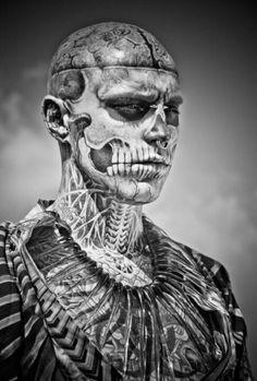 Rick Genest all tattoos Places For Tattoos, All Tattoos, Tattoos For Guys, Tatoos, Anatomical Tattoos, Rick Genest, Skinny People, Tattoo People, Cover Tattoo