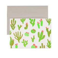 Neon Cacti Cards - Set of 6 | Printed on Recycled Paper with Envelope