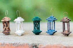 DIY mini lanterns - diy mini lantern Source by csevery - Mini Craft, Craft Stick Crafts, Diy Crafts, Garden Ideas Homemade, Homemade Crafts, Miniature Crafts, Miniature Fairy Gardens, Fairy Lanterns, Mini Fairy Garden