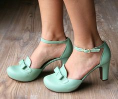 Round toe, high up pump strap hot leather. needs To be in Red, or navy. Chie Mihara :: Collection ugly mint what would I wear with.