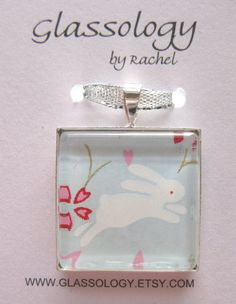 Chiyogami Rabbit Pendant  Glass Tile Pendant on a by Glassology, $10.00
