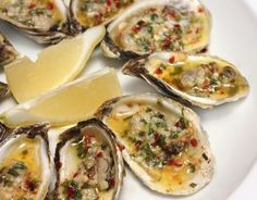 lOysters With Spicy Garlic Butter The Effective Pictures We Offer You About Shellfish Recipes new england A quality picture can Bbq Oysters, Grilled Oysters, Sauce Recipes, Wine Recipes, Cooking Recipes, Shellfish Recipes, Seafood Recipes, Baked Oyster Recipes, Baked Mussels
