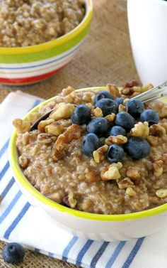 Steel Cut Oatmeal Crock Pot Recipe Topped with Blueberries and Walnuts