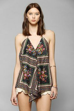 Band Of Gypsies Scarf Halter Tank Top