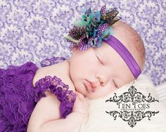 Purple Aqua Blue Peacock Chiffon Flower Baby Girl Headband Infant Newborn Toddler or Adult, Wedding Party, Great with Lace Romper Clothing $9.95