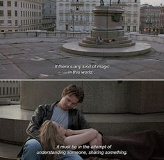 "anamorphosis-and-isolate: "" — Before Sunrise Celine: If there's any kind of magic in this world…it must be in the attempt of understanding someone, sharing something. Movies Quotes, Tv Show Quotes, Film Quotes, Famous Movie Quotes, Poetry Quotes, Movies And Series, Movies And Tv Shows, Tv Series, Before Sunrise Quotes"