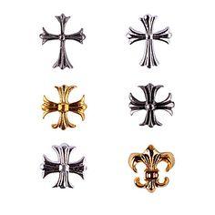 20PCS Bronze Ouro e Prata Retro Chrome Hearts Decorações Nail Art (cores sortidas, No.7-12) – BRL R$ 7,10