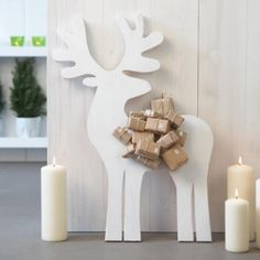 DIY Advent Calendar, reindeer/moose with gifts on its back!