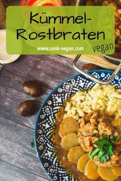 Kümmel-Rostbraten aus Blumenkohl - mega einfach & super lecker! #veganerezepte #vegankochen #blumenkohl #bratenvegan #veganessen #abendessen #festessen Super, Roast, Cauliflowers, Food Dinners, Simple