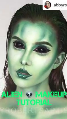 makeup tutorial Realistic and spooky Alien video tutorial Green palette used throughout. Worth trying for beginners and spooky Alien video tutorial Green palette used throughout. Worth trying for beginners Alien Make-up, Scary Alien, Alien Halloween Makeup, Halloween Makeup Looks, Scary Halloween, Palette Verte, Horror Make-up, Eyeliner Make-up, Party Make-up