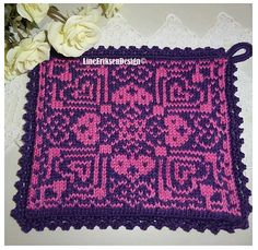 I love you gryteklut Potholders, I Love You, Blanket, Knitting, Crochet, Pattern, Decor, Pot Holders, Te Amo