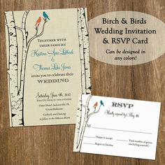 Birch and Birds Wedding Set - Invitation and RSVP Card - Printable on Etsy, $33.97 AUD