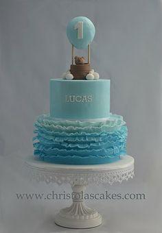 Boys hot air balloon theme 1st Birthday Cake