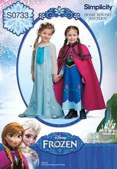Elsa Gown Pattern Anna Dress Frozen Disney Uncut Girls Size 3 - 4 - 5 - 6 - 7 - 8 Simplicity 0733 by PrettyfulPatterns on Etsy Anna Costume, Frozen Costume, Queen Costume, Princess Costumes, Girl Costumes, Infant Costumes, Movie Costumes, Anna Dress Frozen, Elsa Dress
