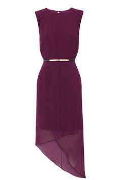 Purple WRAP ASSYMETRIC DRESS | Warehouse