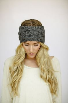 Gray Cable Knitted Headband Ear Warmer Cable Knit by ThreeBirdNest