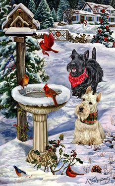 --scottish Terrier - Christmas Visitors