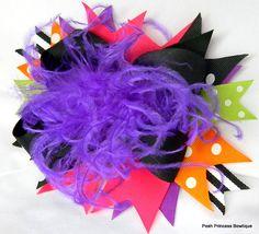 Black purple orange Halloween over the top by PoshPrincessBows1, $18.40