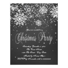 pretty rustic black and white chalk snowflake chalkboard christmas party invitation this simple elegant black