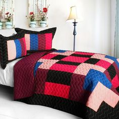 [Girl's Excitement] 3PC Vermicelli-Quilted Patchwork Quilt Set (Full/Queen Size)