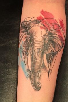 Watercolor, black & gray elephant sketch tattoo.