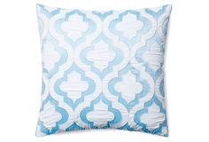 One Kings Lane - The Element of Surprise - Ventura 20x20  Embroidered Pillow, Blue