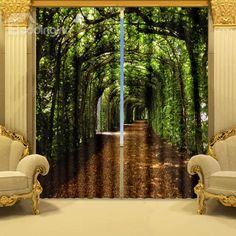 Fantastic Green Corridor Polyester 2-Piece 3D Curtains on sale, Buy Retail Price 3D Curtains at Beddinginn.com