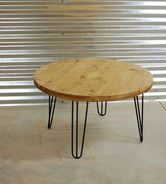 custom rustic wood coffee table with modern hairpin legs free shipping hello rustic and modern awesomeness this is our popular round bargu mango wood side table
