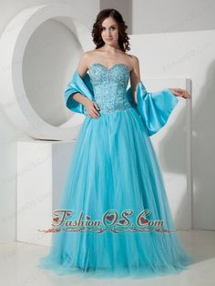 Simple Light Blue A-Line / Princess Sweetheart Quinceanera Dress Tulle Beading Floor-length  http://www.fashionos.com    We love simply designed, versatile gowns. They look nice, they feel nice and are easily coordinated with lots of accessories so that you don't have to be tied down to just one look. A fitted, exotic bodice made of sequin, crystals and boning details accenting the flirty sweetheart neckline.