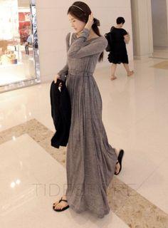 Korean Style Solid Color Slim Maxi Dress