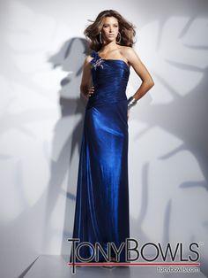 One shoulder blue