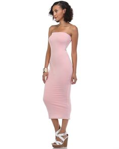 Fitted bodycon ribbed knit midi tube dress. Fits true to size ...