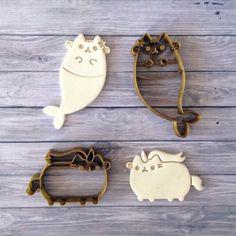Pusheen the Cat (inspired of) in Mermaid & Unicorn Cookie Cutter Set Gato Pusheen, Pusheen Love, Pusheen Stuff, Pusheen Shop, Crazy Cat Lady, Crazy Cats, Pusheen Cookies, Pusheen Birthday, Unicorn Cookies