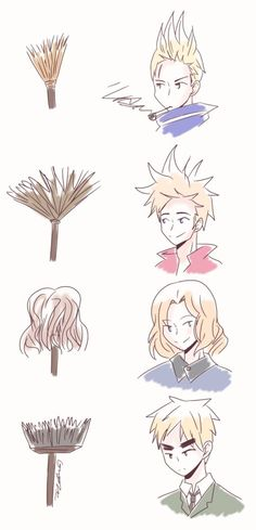 ((By GrodroZMaa on deviantArt Have a hair reference for some of the Hetalia characters. It's very accurate. Especially with France an Denmark.))