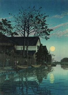 "huariqueje: "" Evening at Itako (Itako no yû) - Kawase Hasui , 1930 Japanese, 1883–1957 Woodblock print; ink and color on paper , 43 x 30.3 cm (16 15/16 x 11 15/16 in.) """