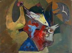 """Luis MORET (Madrid, 1929 - Riera de Gaià, Barcelona, 2009).Sin título, 1971. Óleo sobre lienzo.Firmado y fechado en el ángulo inferior derecho.Medidas: 97 x 130 cm.Nacido en Madrid, En 1955 se instaló en Veracruz. Trabajó junto a Siqueiros, y convivió en Cuernavaca con expresionistas abstractos norteamericanos. Retorna definitivamente a España en 1994. En Diiciembre de 2006 se le dedicó una exposición titulada """"Hexagon"""" en Tarragona y en el 2010 en el Centro Cultural El Tecolote , en Mexico."""