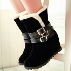 ENMAYER 2014 women's shoes anti-slip soles high heels boots , round toe buckle wedges boots ,vintage woman's winter boots $71.50