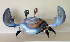 Smiling Crab Decoration for your home or garden. by PantherMetal, $19.95