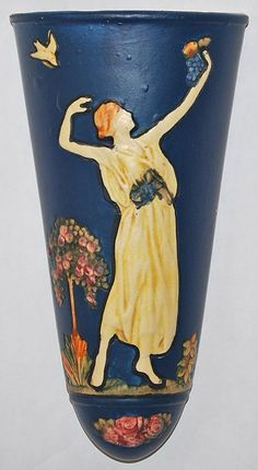 Weller Pottery Blue Ware Wall Pocket from Just Art Pottery