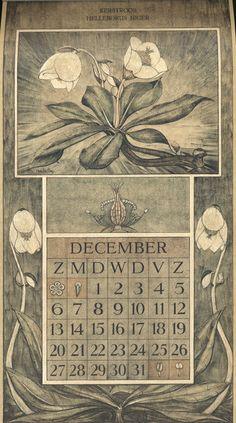 Le Roy, Charles, illustrator. December. Botanische kalender (Dutch botanical calendar). 1925.