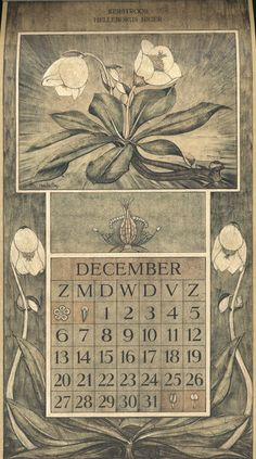 Le Roy, Charles, illustrator. December. Botanische kalender (Dutch botanical calendar). 1925.