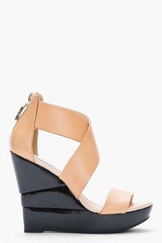 Diane Von Furstenberg Tan Leather & Black Patent Opal Wedge Sandals