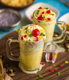 Kesar Pista Falooda is a delicious Indian Dessert Drink prepared by condensing milk along with saffron and pistachios. Sabja seeds added to the falooda adds a very nice crunch while the falooda sev is nice and soft. Falooda tastes best when served chilled topped with ice cream, tutti frutti and cherries.  Sabja seeds are seeds from the sweet basil plant and it most nutritious when soaked in water and consumed. They are high in Omega 3 fatty acids, which helps in boosting metabolism w...