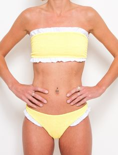 Tracey - Yellow / White Frill Bikini