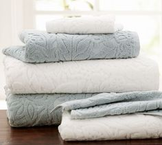 Isaac Floral Sculpted 600-gram Weight Bath Towels | Pottery Barn