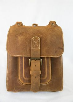 "Honey brown leather backpack. Handmade rucksack 13"". by InBagWeTrust on Etsy https://www.etsy.com/listing/221825988/honey-brown-leather-backpack-handmade"