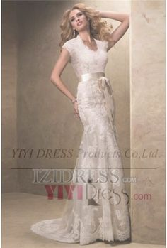 OUR PRICE: $218.75 Trumpet/Mermaid V-neck Court Train Lace Wedding Dress